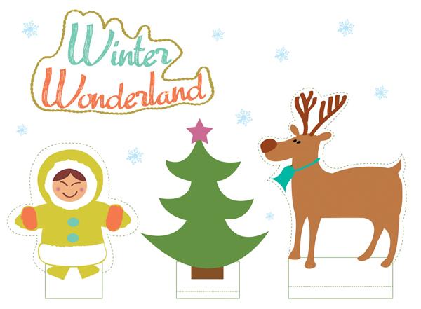 winterwonderland kijkdoos DIY printable