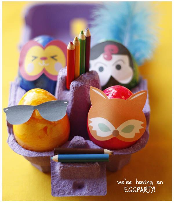 Versier de eieren met Pasen eens met een masker. Zo zien ze er op hun paasbest uit voor het paasontbijt of paasbrunch. Download nu de maskers, print, knip en plak. Easy Peasy! Fijne Pasen!