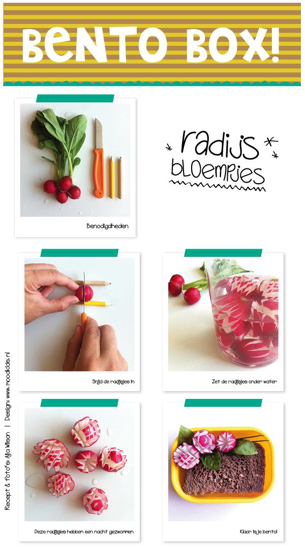 tutorial BENTO hoe maak je radijs bloemen, lunchidee