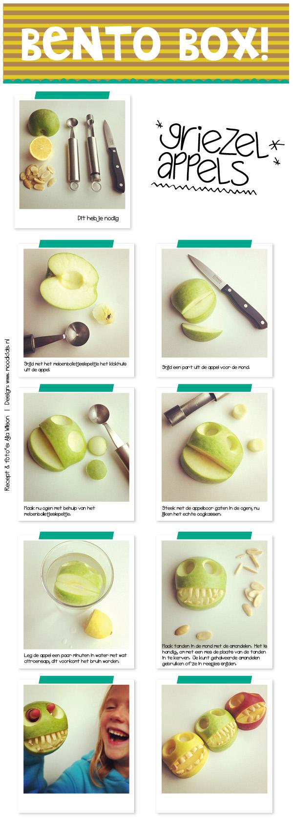 bento appels stap voor stap uitleg griezelappels voor halloween