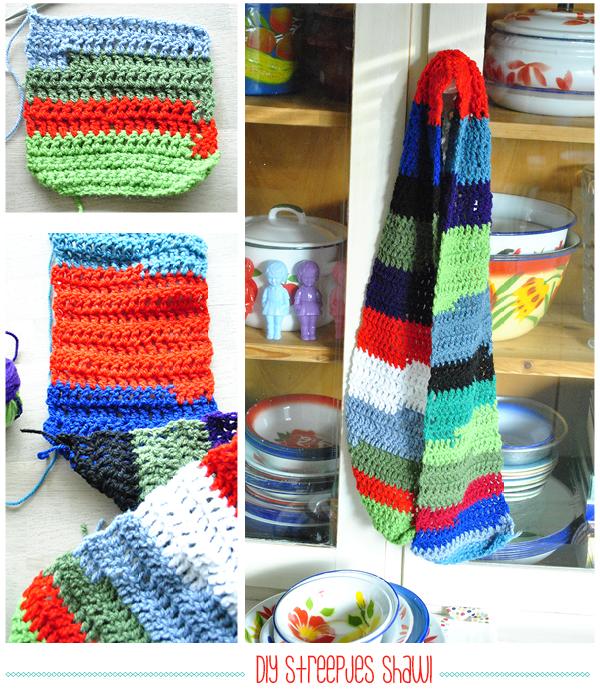eenvoudig haakpatroon gestreepte sjaal