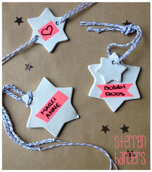 diy hangers van klei, sterrenlabels van DAS klei maken