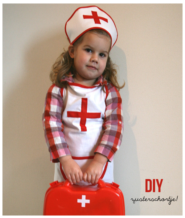 zelf verkleedkostuum maken kinderen, zusterschortje maken