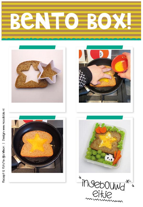 Stap voor stap uitleg uit hoe je een eitje in een boterham bakt. Nauwelijks moeilijker dan het gewoon bakken van een ei. Leuk ei voor in de broodtrommel! #dutchbento