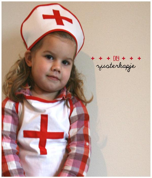 zelf een zusterkapje maken, verpleegster kostuum