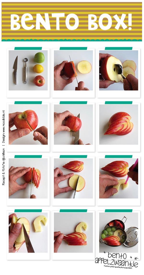 bento appelzwaan snijden, meer bento en leuke lunch recepten voor kinderen vind je op www.moodkids.nl
