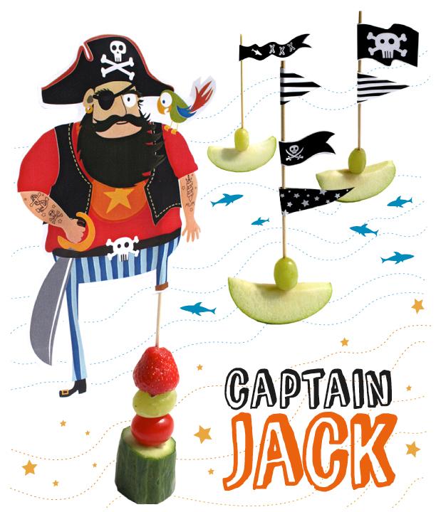 Kapitein Jack is een stoere piraat met een houten been. Je steekt aan de prikker verschillende groente en fruit en klaar is je gezonde traktatie piraat. Je download de vlaggetjes en de piraat hier gratis.