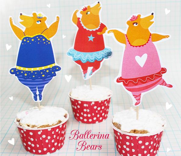 traktatie, trakteren, beren, ballerina, gratis download, traktatie idee, verjaardag, cupcakes