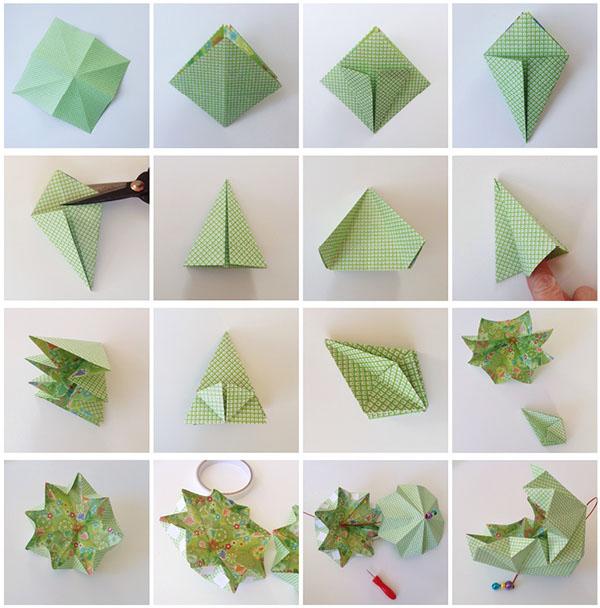 kersthangers vouwen origami kerstballen voor in de boom. Black Bedroom Furniture Sets. Home Design Ideas