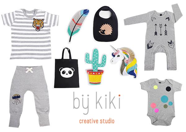 Bij Kiki heeft een babycollectie met grafische prints, een collectie T-shirts en longsleeves voor kids t/m 12 jaar, een gifts collectie met accessoires en cadeaus en een do-it-yourself collectie met applicaties en inkleur artikelen.