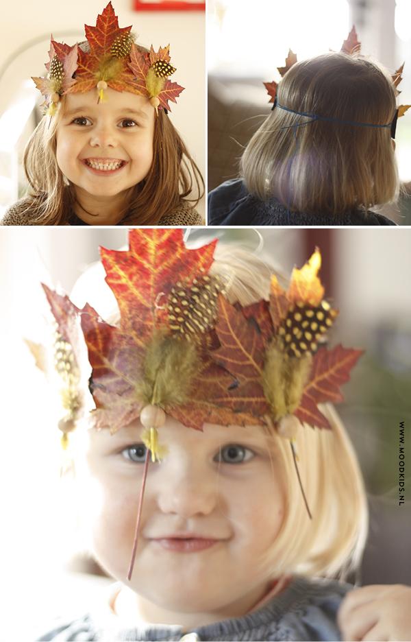 herfstkroon of herfsttooi maken van bladeren