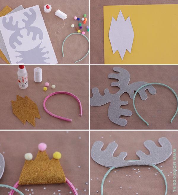 Jouw kind ook dol op haarbanden? Eefje maakte twee gratis haarband kind sjablonen om zelf easy peasy een diadeem te maken. Je kunt kiezen uit een kroontje of een rendiergewei. Leuk voor kerst!