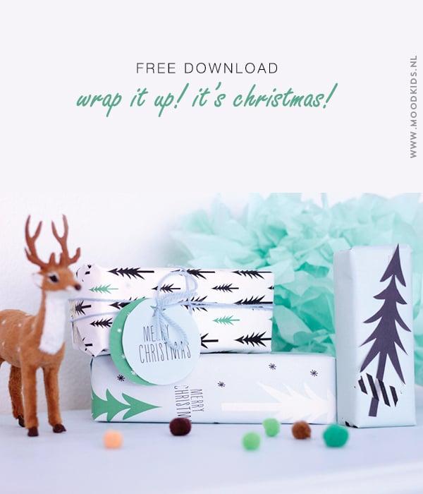 kerst, kadopapier, gratis download, christmas, wrapping paper, download, kerstboom, grafisch, labels, printable