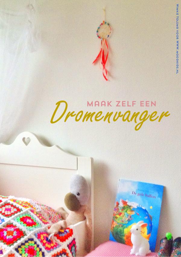 Maak zelf een dromenvanger met lintjes, kraaltjes en decoratieveren. Leuk voor op de kinderkamer. Zo vang je alle nachtmerries op van je kind.