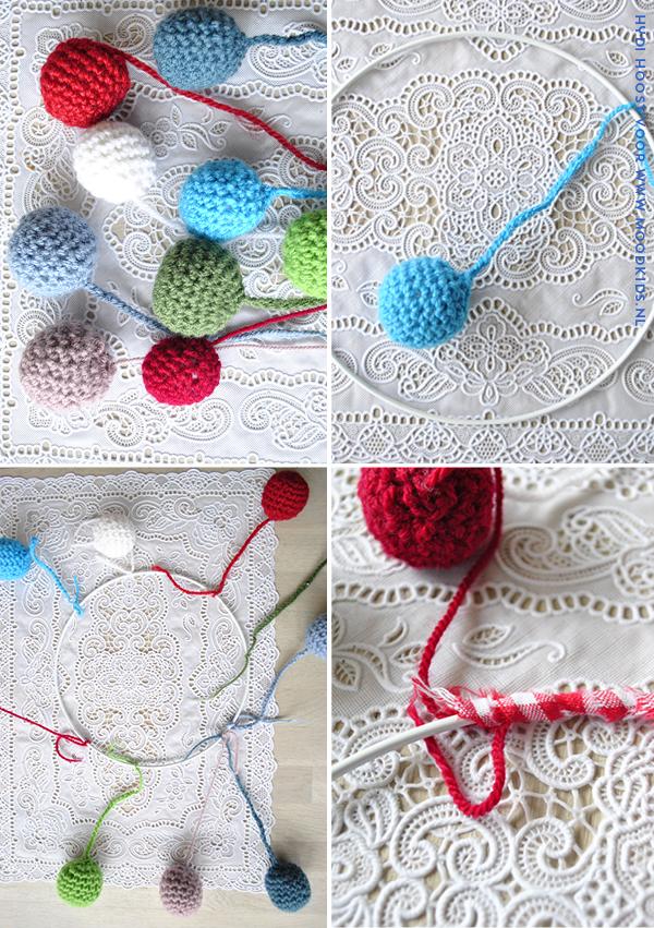 diy, gehaakte ballen, crochet, maak een mobile voor de kinderkamer