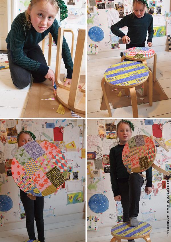 duy, kruk beplakken, papergraffiti, papierboek studio boot, kruk met papier versieren, doe het zelf