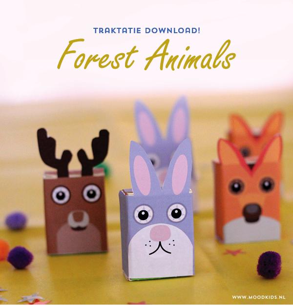rozijnen traktatie , trakteren, tips, traktatie idee, bosdieren, rozijnen doosjes, forest animals, download, gratis
