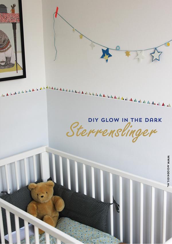 sterrenslinger maken, diy, doe het zelf, kinderkamer, paper garland, papieren slinger maken, sterren aan de muur, glow in the dark, engelpunt
