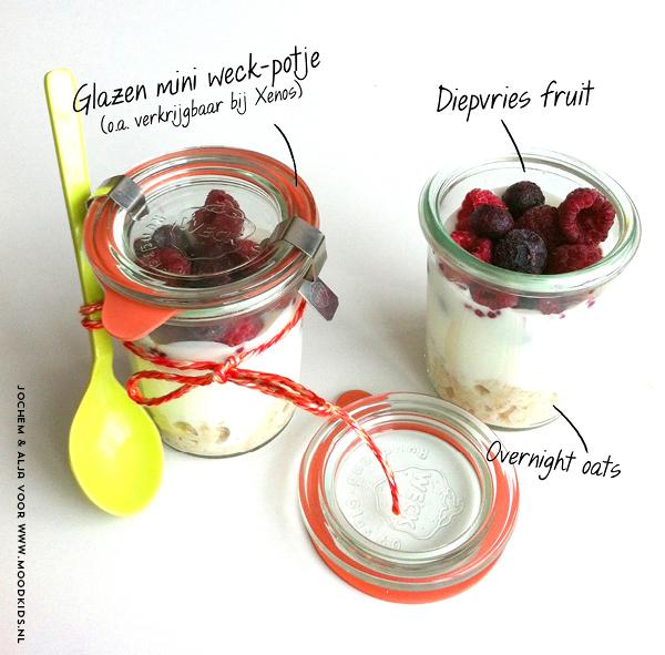 overnight oats in een potje, havermout, bento, lunch, school, diepvriesfruit, havermout meenemen