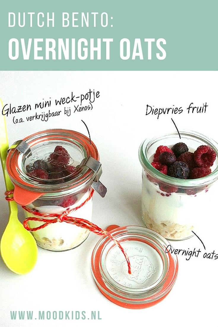 Maak zelf overnight oats in een potje. Gezond en lekker en niet alleen als ontbijt. Makkelijk en lekker om mee te geven bij de lunchtrommel van je kind. Bekijk hier het recept. #dutchbento