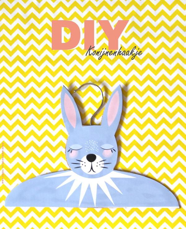 konijnenhanger maken, diy, hanger, kledinghaakje, kinderkamer, download, illustratie, rabbit, konijnenhaakje