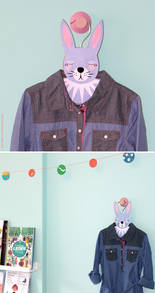 konijnenhanger maken, diy, hanger, kledinghaakje, kinderkamer, download, illustratie, rabbit