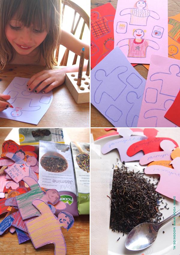 diy theezakjes, theelabels maken, theepoppetjes, kidscraft, knutselen, theezakje knutselen, traktatie