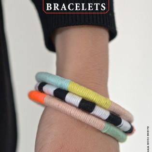 DIY Armband van restjes kleurig katoen en gordijnringen