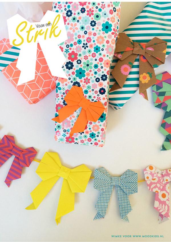 moederdag origami strik vouwen
