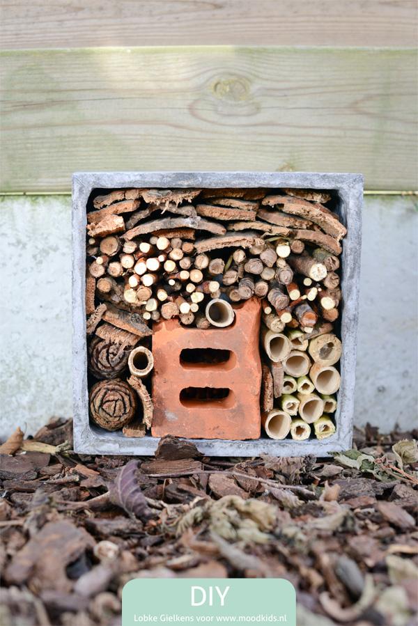 Wil je zelf een insectenhotel maken? Volg de stap voor stap uitleg en bouw samen met je kind een droomhotel voor leuke kriebelbeestjes in je tuin.