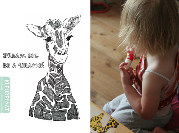 moodkidskleurplaat giraffe