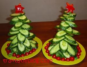 komkommer kerstboom traktatie