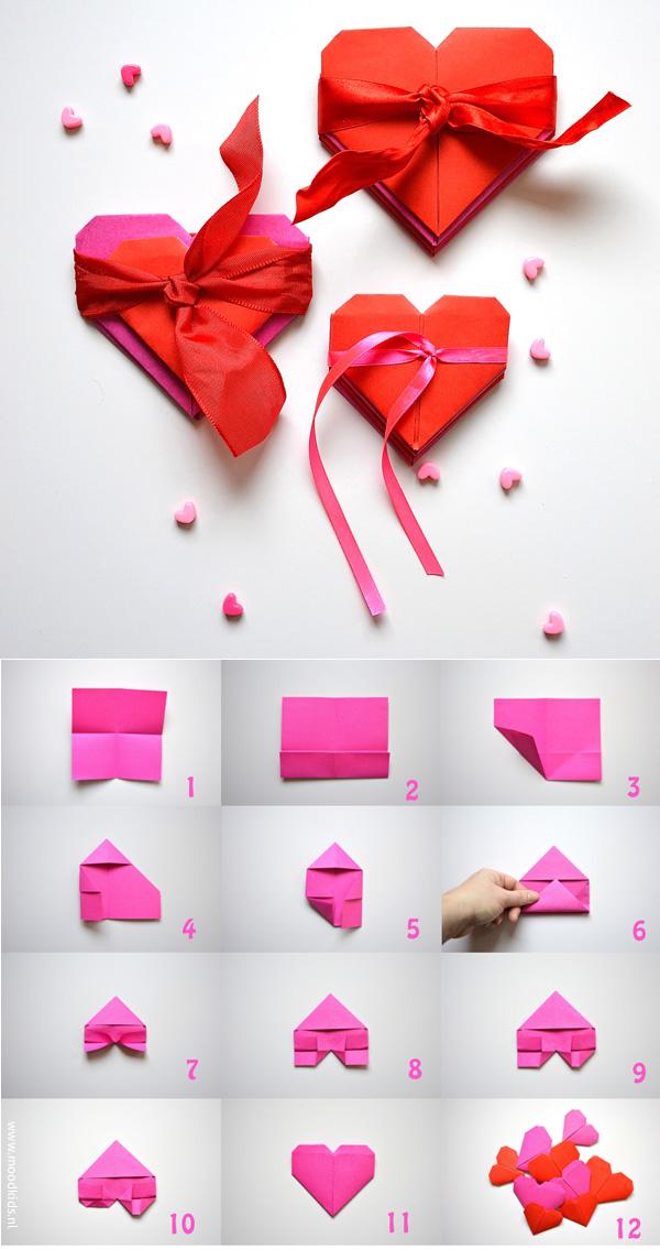 stappenplan origami hartje vouwen