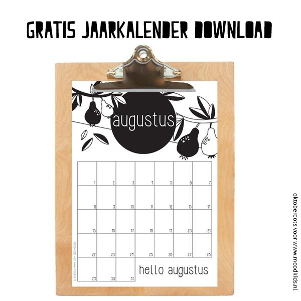 AUGUSTUS gratis jaarkalender download, leuke maandkalender