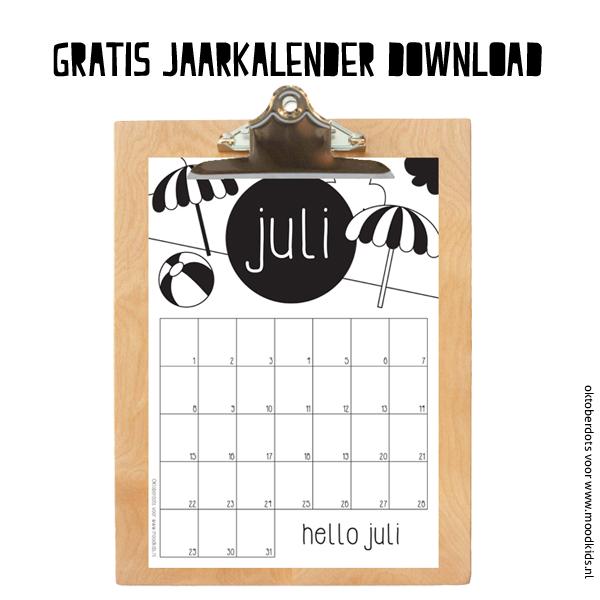 JULI gratis jaarkalender download, maandkalender kleuren
