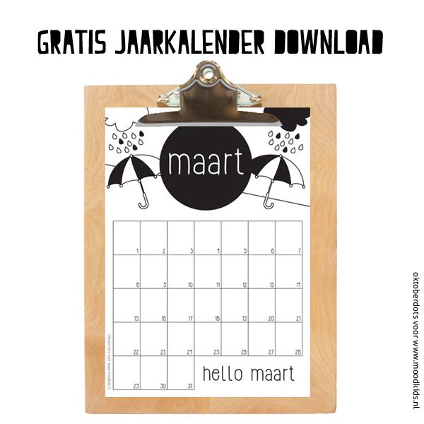 MAART gratis jaarkalender download, maandkalender gratis printen