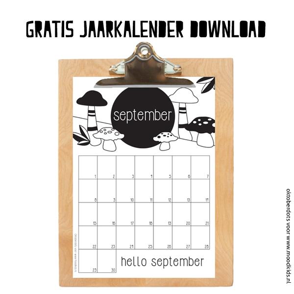 SEPTEMBER gratis jaarkalender download