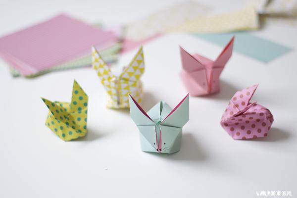 1 origami konijn vouwen