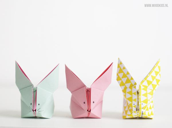 een origami haas vouwen doe je zo