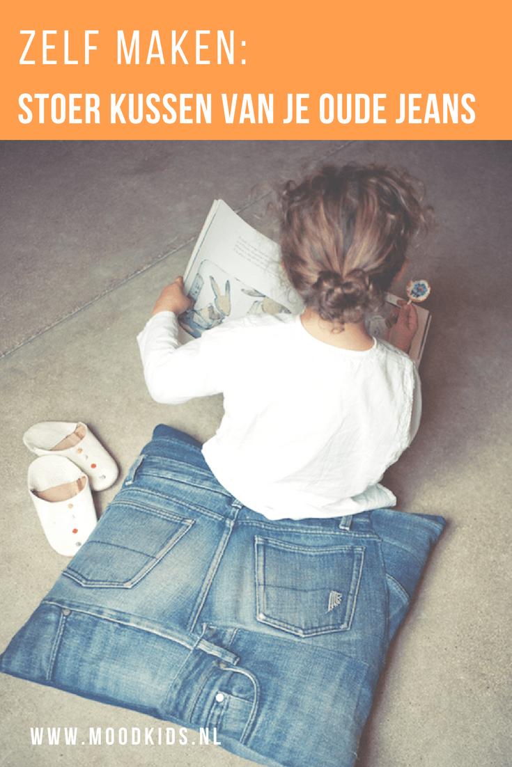 Maak zelf een stoer kussen van je oude jeans met deze stap voor stap beschrijving.