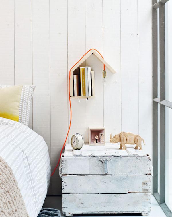 stijlvolle boekenplank diy lamp