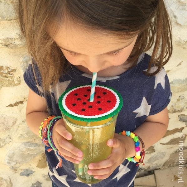 meloen deksel maken, geen wespen in je glas, watermeloen strijkkralen