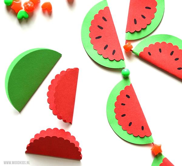 watermeloen ketting maken van papier