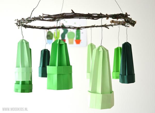cactus mobile van papier maken, cactus knutselen