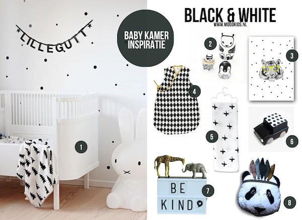 Kinderkamer Behang Zwart Wit : Sfeervol zwart wit in de babykamer ...