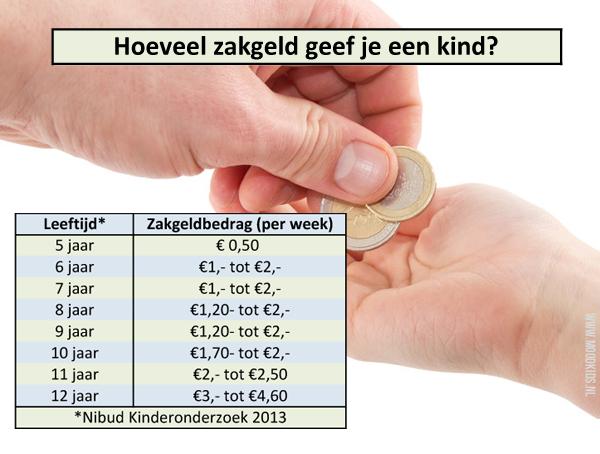 hoeveel zakgeld krijgt een kind
