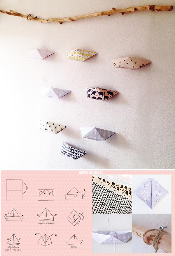 mobile maken origami bootjes vouwen