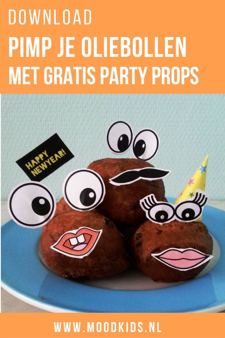 Op oudejaarsdag staan hier de oliebollen klaar en kunnen de kids niet wachten om hun tanden erin te zetten. Dit jaar versiert met oliebollen party props! Je kunt ze hier gratis downloaden.