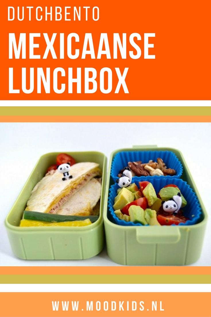 Geef eens wat anders mee naar school voor de lunch. Tips voor een mexicaanse lunchtrommel, gevuld met een tuna-melt quesadilla, avocado-tomaatsalade, paprika, komkommer en noten.