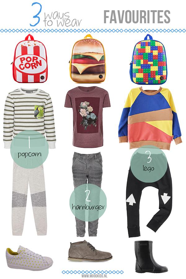 Deze maand creëert onze fashion blogger Doctor Fashion 3 verschillende looks voor de favourites van je kind. Is je kind dol op hamburgers, popcorn of LEGO? Dan wordt hij/zij vast heel blij van deze looks! Op www.moodkids.nl vind je alle verkoopadressen.